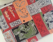 BOTANY 1950s Vintage Botanical Barkcloth Fabric Linear Grid Print
