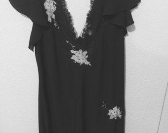 Oscar de la renta mini-dress/nightgown medium pink & black