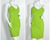 90s 80s leather suede Firenze Lime Green body con dress