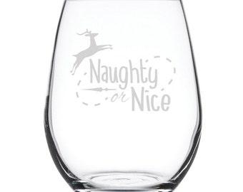 Stemless White Wine Glass-17 oz.-7876 Naughty or Nice
