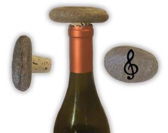 Engraved Symbol Wine Stopper on Natural Stone  - 6946 Music Note