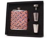 Personalized flask gift set // Rusty metal design