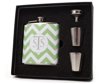 Mint Green Chevron Flask // Bridesmaid Gift // Monogrammed Personalized Flask