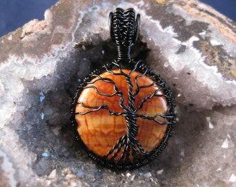 Tree of Life wire wrapped pendant with fire agate