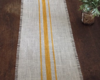 Burlap Table Runner Goldenrod Striped Rustic Table Decor by sweet janes plan