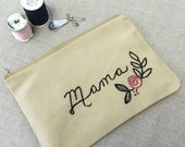 Personalized Name Zipper Pouch. Mother's Day Gift. Gift for Mom.  7 Inch. Hand Embroidered Coin Purse Accessory. Craft organization. Travel.