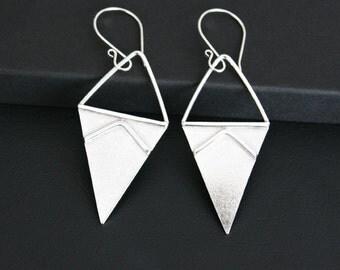 Modern Triangle Geometric Design Earrings Sterling Silver Handmade