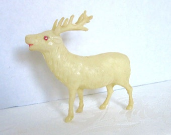 Antique Christmas Deer Celluloid Decoration Stag Woodland 1930s Japan