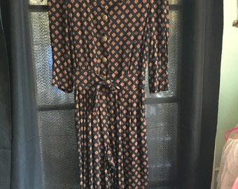 E.D. Michaels Vintage full body jumpsuit jumper bodysuit black gold buttons ruched back