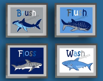 Shark Bathroom Art, Wash Brush Floss Flush Bathroom Art, Art Rules For  Bathroom,
