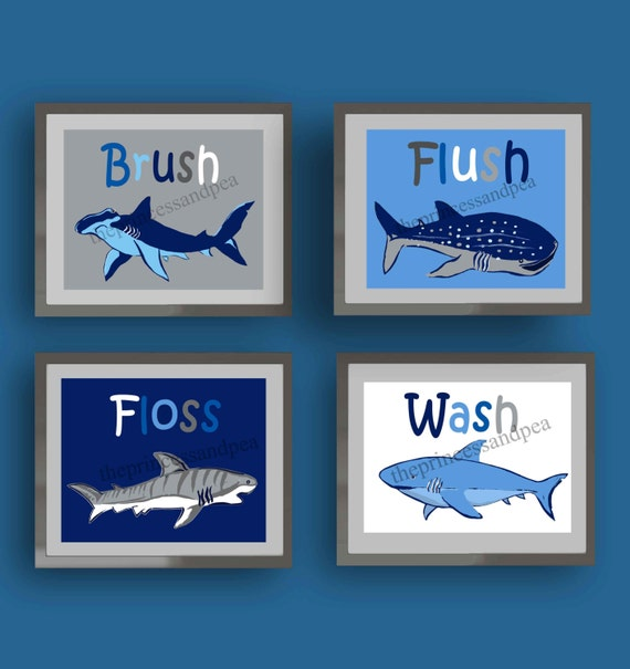 Shark bathroom art wash brush floss flush bathroom art art for How do sharks use the bathroom