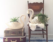 "22"" large vintage ceramic swan planters"