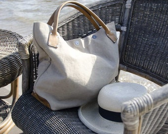 Sand and Sea summer TOTE 2 - - KHAKI cotton canvas and CAMEL leather