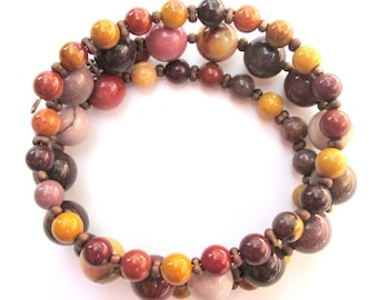 Yellow Brown Red Agate Wrap Bracelet  Memory Wire  Agate Stone and Seed Beads Bracelet Wrap Cuff  Stacking Beaded Bracelet