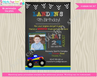 Monster Truck Birthday Party Invitation invite, monster truck party invitation, truck party invite, printable, DIY, photo, picture,custom