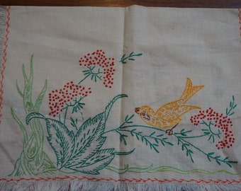 Vintage Handstitched Tea Towel Yellow Bird Flowers Fringed Hem Two Sided