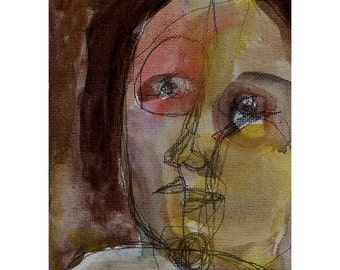 face portrait art original woman painting people canvas panel expressive lines
