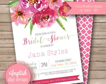 Boho Floral Bridal Shower Invite, Printable Watercolor Floral Bouquet Bridal Shower Invitation, Boho, Rustic Bridal Shower in Pinks & Greens
