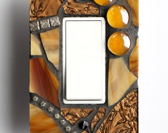 Golden Glamour - Single Mosaic Rocker Light Switch / GFI Outlet Cover Wall Plate