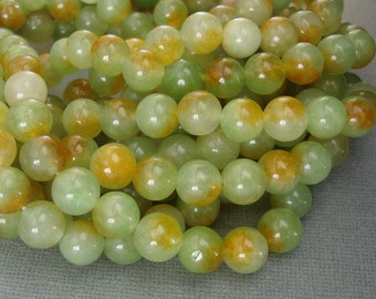 Natural Two Tones Olive Jade Beads - 10mm  - 14 inch Strand.