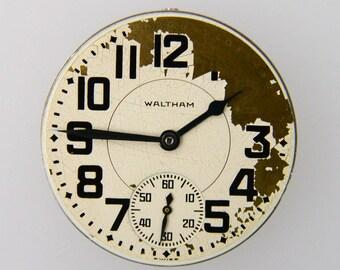 1957 Waltham 16B 17J 16s Pocket Watch Movement Good Balance For Parts Repair L1Y