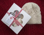 Cable knitting kit , chunky knit kit , beanie knitting kit  , cable knit kit , luxury diy gift for her , winter wool kit , gift for knitters