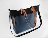 Unisex, LARGE, Teal blue Black front zipper pocket tote / diaper bag / shoulder bag. 9 inside pockets. Waterproof lining available