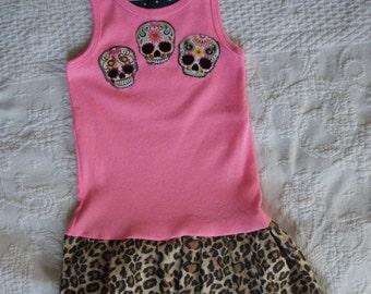 Olivia Paige - Little sugar skull Leopard rockabilly punk rock outfit Tattoo Dress 18-24m