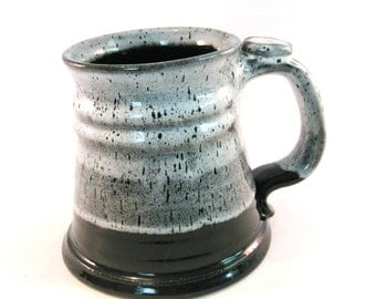 Large 24 oz. - Tankard - Pottery Stein - Coffee Mug - Handmade Pottery - Black and White - Gray - Pottersong Pottery - Renaissance Stein