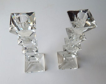 Pair Elegant French Art Deco Crystal Candlesticks Matched Pair