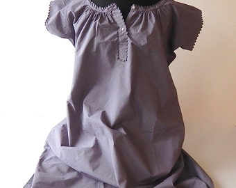 French Vintage Nightgown-Day Dress in Cotton Dyed Anthracite