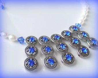 Dazzling Sapphire Blue Princess Necklace - Sapphire and Pearl Necklace - Blue and White Necklace - Blue Statement Necklace - OOAK Necklace
