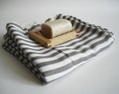 SALE 50 OFF/ BathStyle / Gray Striped / Turkish Beach Bath Towel / Wedding Gift, Spa, Swim, Pool Towels and Pareo