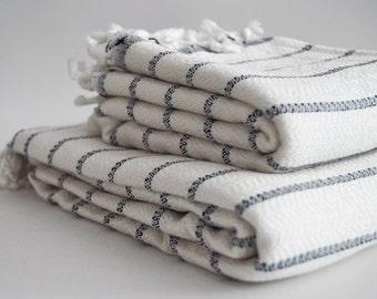 SET Turkish BATH Towel Peshtemal and Head-Hand Towel Peshkir - Very Soft Bamboo (Navy Blue striped) Beach, Spa, Swim, Pool Towels and Pareo