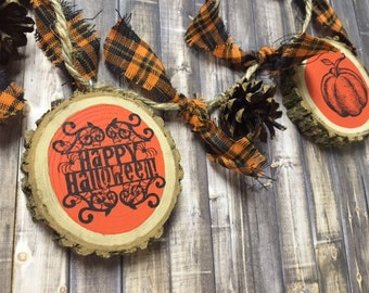 halloween decor rustic halloween banner wood slice banner fall decorations primitive halloween - Rustic Halloween Decorations