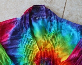 Tie dye Eastern Indian 3/4 sleeve shirt upcycled youth Large