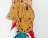 HORSE, wooden towel holder horse shoe Free shipping  Oak hook wall hanger handmade gifts