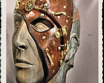 Steampunk leather half mask - Basic - Brown -