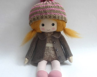 doll, heirloom doll, cloth doll, rag doll, collectors doll, red-haired doll, doll in brown, fall doll, doll in woolly hat, room decor