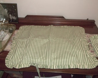Vintage French Pillow Shams 2 Green White Stripes Ruffles & Ties Maison du Linge Just Reduced