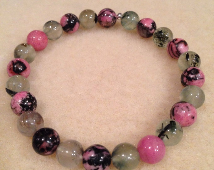 Prehnite Epidote & Rhodonite 8mm Round Stretch Bead Bracelet with Sterling Silver Accent