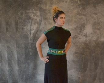 1940s Black Rayon Dress size S