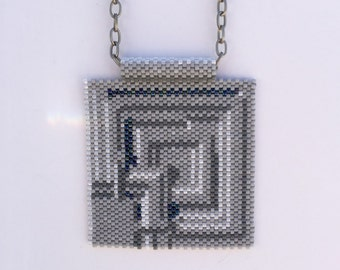 Frank Lloyd Wright Ennis House Mayan Revival textile brick beadwork pendant necklace