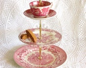 Red Transfer 3-Tier Tray Stand, Vintage Plates with Cup & Saucer, Tiered Table Display, Valentine's Day Cupcake Holder By High Tea for Alice