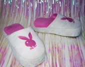 90's Playboy Bunny Logo Platform Wedge House Slippers // 8 - 9