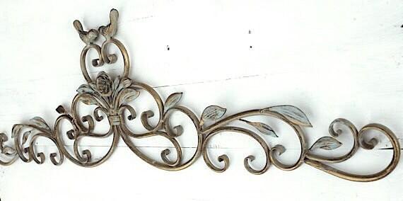 ESTATE SALE Wrought Iron Wall Decor Fleur De Lis Shabby Chic