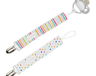 Universal Loop Pacifier Clip Set of 2 in Hearts & Swirls - FREE SHIPPING