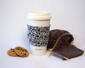 Navy and Yellow Floral Reversible & Reusable Coffee Cup Sleeve, Coffee Cozy, Cup Cozy, Tea Cozy (Standard Size)