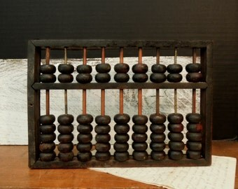 Vintage / Antique Chinese Abacus / Antique Rustic Abacus / Wood Asian Abacus