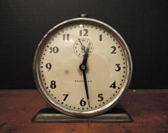 Vintage Westclox Round Face Alarm Clock by Westclox / Silver